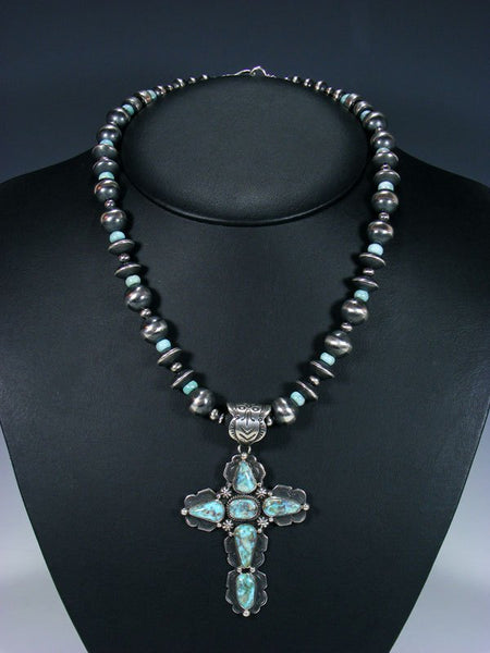 Dry Creek Turquoise Navajo Handmade Cross Necklace Set