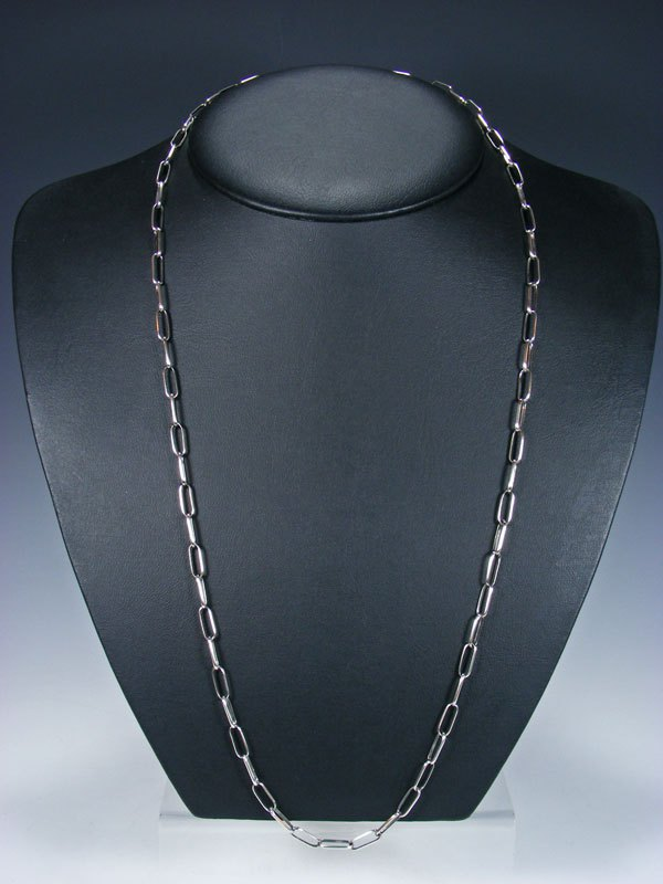 "Navajo 30"" Handmade Sterling Silver Link Chain Necklace"