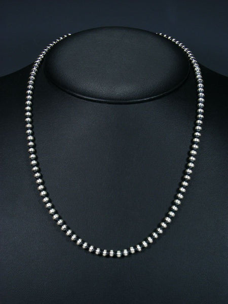 "21"" Native American Silver Bead Necklace"