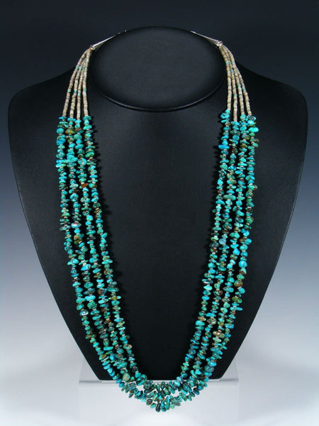 Native American Indian Turquoise Four Strand Necklace