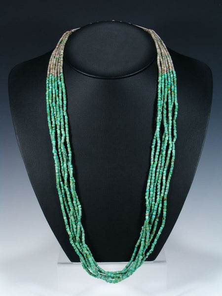 Native American Indian Turquoise Six Strand Necklace