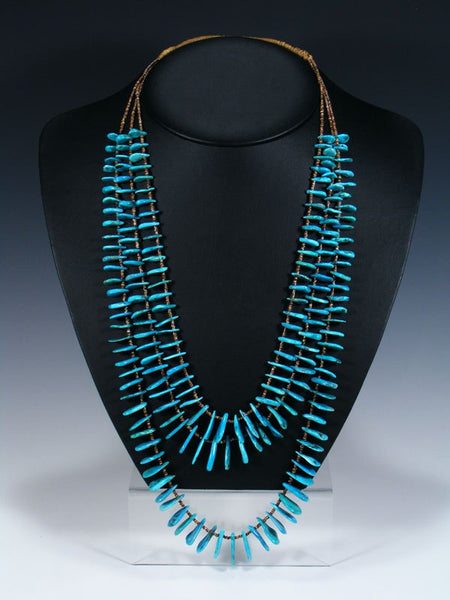 Native American Indian Three Strand Turquoise Tear Drop Necklace