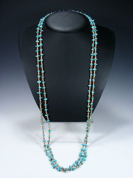 Native American Indian Jewelry Single Strand Extra Long Turquoise Wrap Necklace
