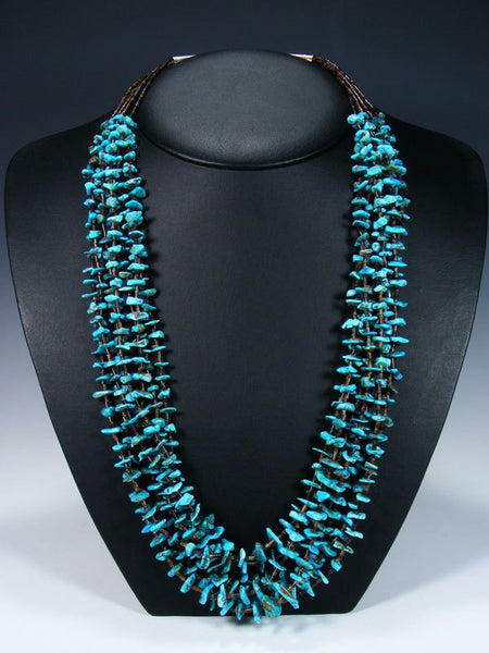 Native American Indian Jewelry Six Strand Turquoise Necklace
