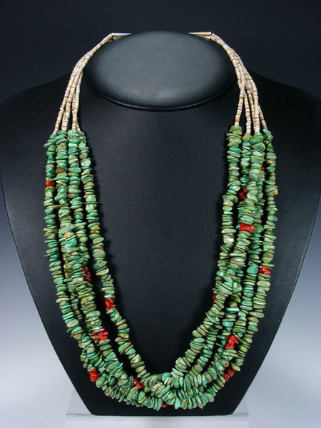 Native American Indian Jewelry Five Strand Turquoise  and Coral Necklace