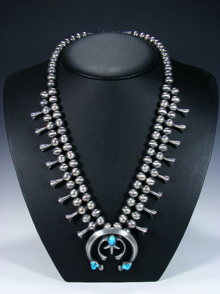 Native American Silver Sandcast Squash Blossom Necklace Set