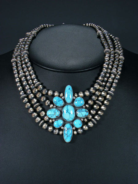 Native American Egyptian Turquoise Beaded Choker Necklace
