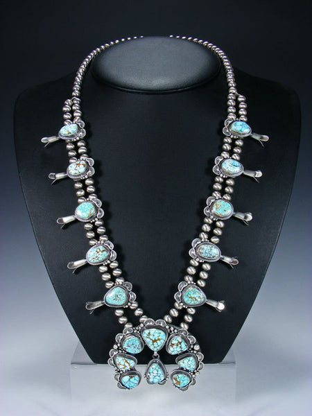 High Grade #8 Turquoise Sterling Silver Squash Blossom Necklace Set