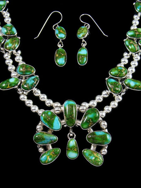 Sonoran Gold Turquoise Sterling Silver Squash Blossom Necklace Set