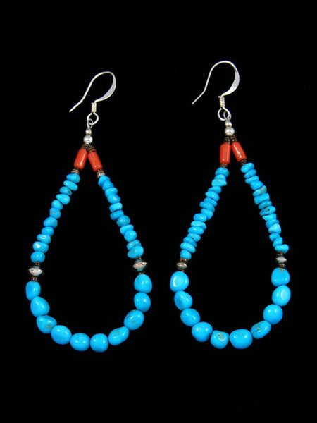 Turquoise Beaded Santo Domingo Dangle Earrings