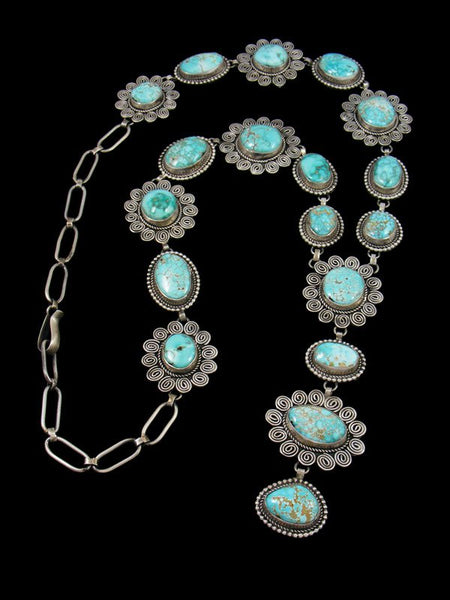 Native American Natural Carico Lake Turquoise Lariat Y Necklace