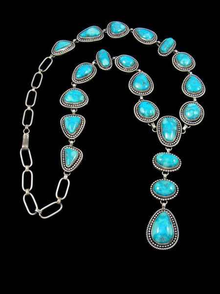 Native American Sterling Silver Blue Ridge Turquoise Lariat Y Necklace