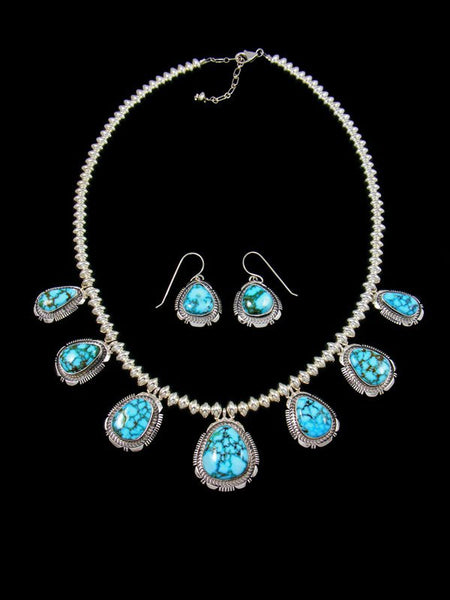 Natural Kingman Turquoise Sterling Silver Tear Drop Necklace Set