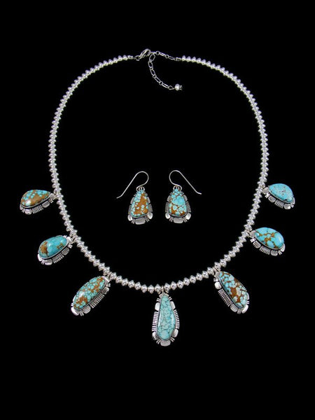 Natural High Grade #8 Turquoise Sterling Silver Tear Drop Necklace Set