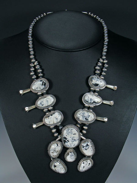 Native American White Buffalo Squash Blossom Necklace Set