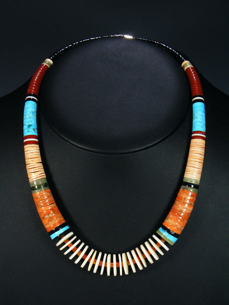 Native American Indian Turquoise and Apple Coral Necklace