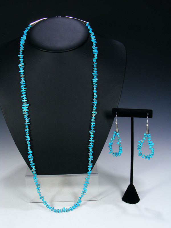 Turquoise and Silver Bead Necklace and Earring Set