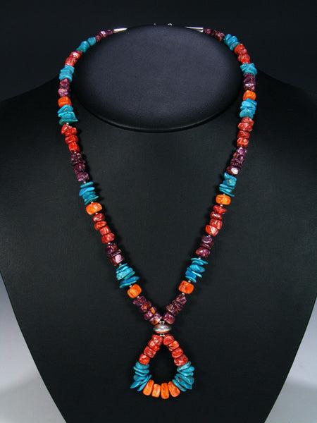 Native American Indian Jewelry Turquoise and Spiny Oyster Necklace