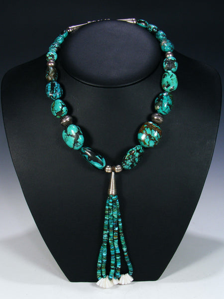 Native American Hubei Turquoise and Shell  Jocla Necklace