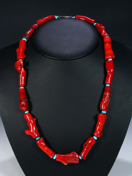 Native American Bamboo Coral Single Strand Necklace