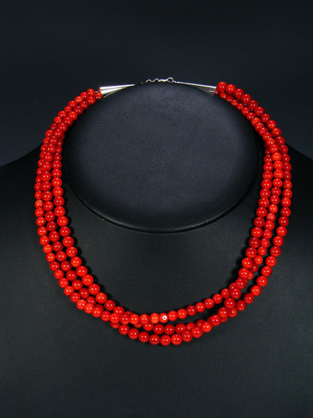 Native American Bamboo Coral Triple Strand Necklace