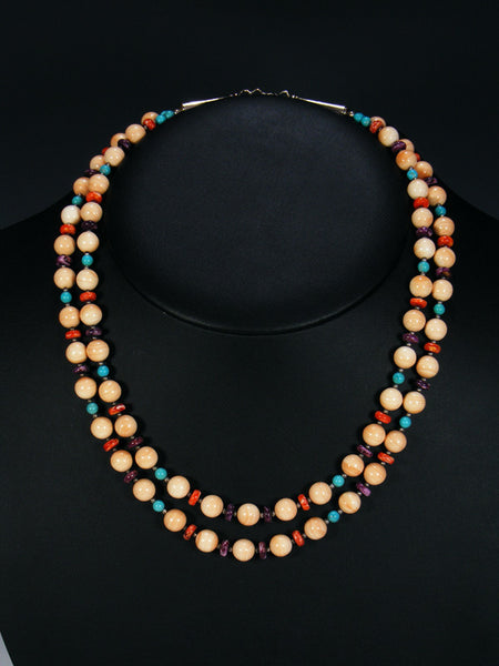 Double Strand Navajo Jewelry Dolomite and Spiny Oyster Necklace