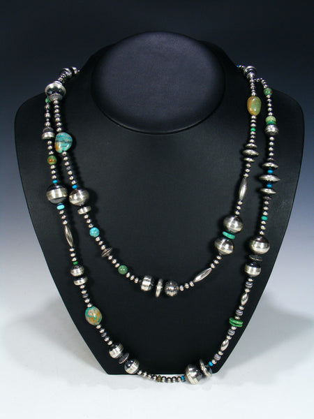 Extra Long Native American Turquoise and Silver Bead Necklace