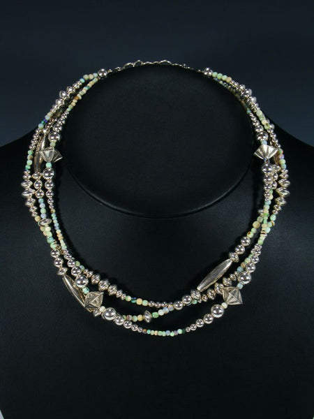 Native American Sterling Silver and Monarch Opal Bead Necklace