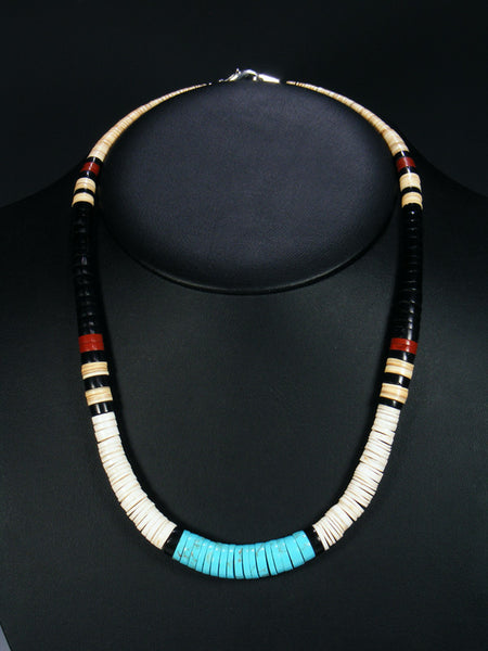 Santo Domingo Shell Jet and Turquoise Necklace