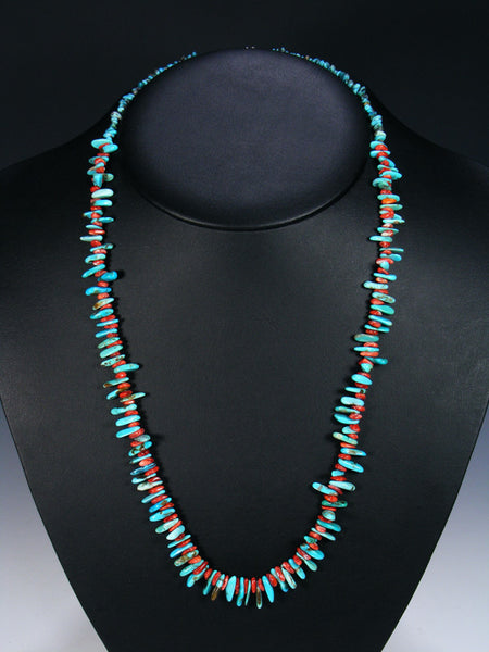 Native American Indian Jewelry Red Spiny Oyster and Turquoise Necklace