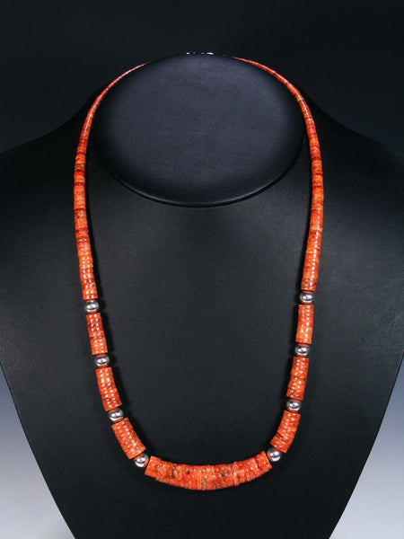 Native American Apple Coral Single Strand Necklace