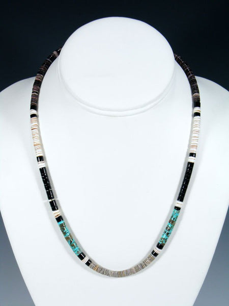 Santo Domingo Single Strand Turquoise and Jet Shell Necklace