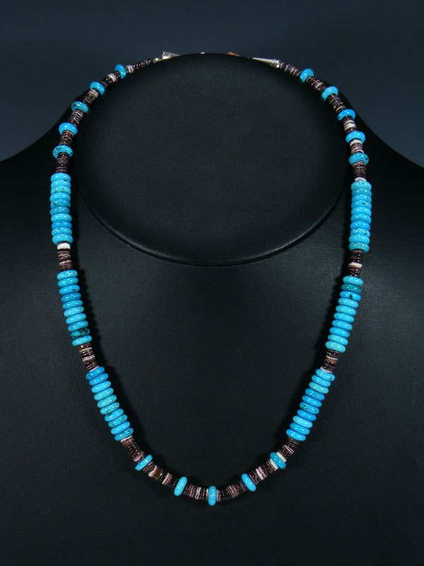 Native American Indian Jewelry Turquoise and Shell Heishi Necklace