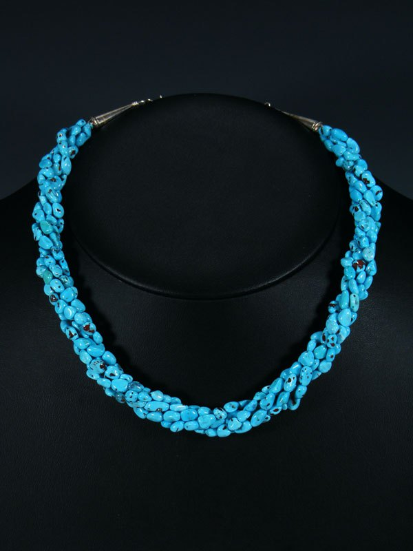 Native American Five Strand Twist Turquoise Necklace