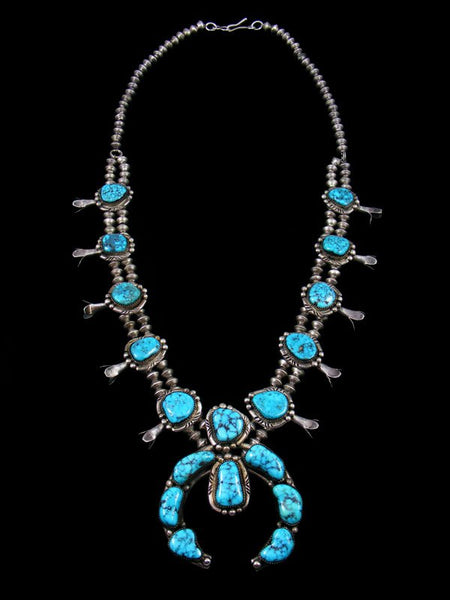 Vintage Native American Kingman Turquoise Squash Blossom Necklace