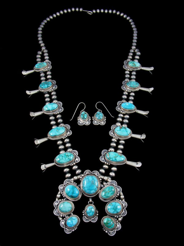 Carico Lake Turquoise Sterling Silver Squash Blossom Necklace Set