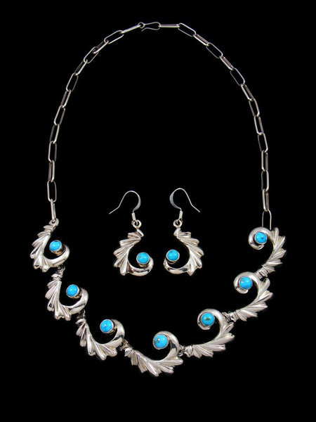 Kingman Turquoise Swirl Choker Necklace and Earring Set