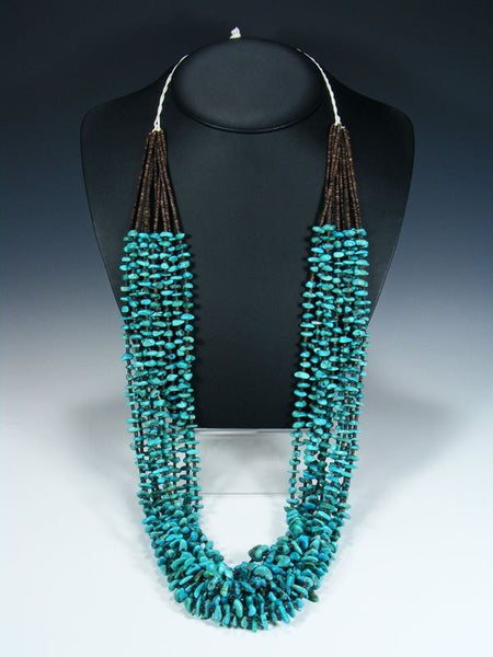 Native American Turquoise Heishi Ten Strand Necklace