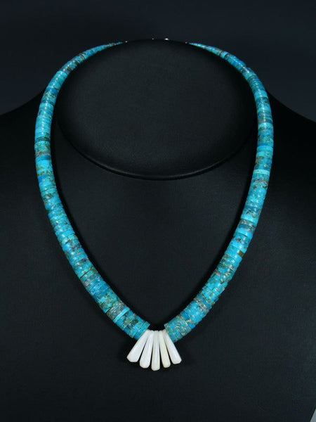 Native American Santo Domingo Turquoise and Mother of Pearl Necklace