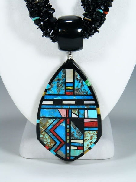 Native American Santo Domingo Inlay Black Jet Necklace