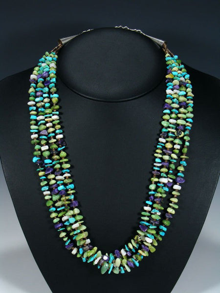 Native American Multi Strand Turquoise and Serpentine Necklace