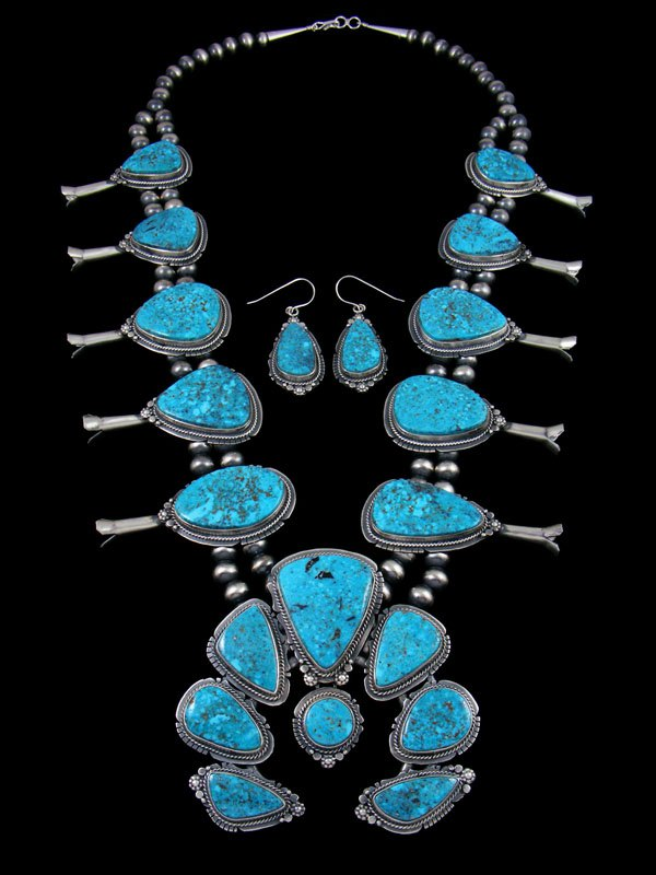 Large Kingman Turquoise Squash Blossom Necklace Set