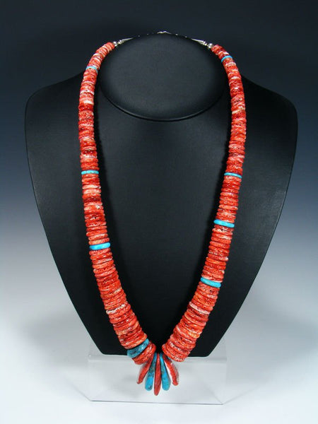 Native American Santo Domingo Turquoise and Red Spiny Oyster Necklace