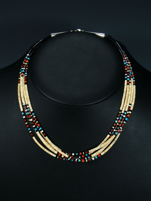 Native American Indian Bead Santo Domingo Shell Necklace
