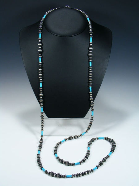 Native American Turquoise and Sterling Silver Extra Long Beaded Necklace