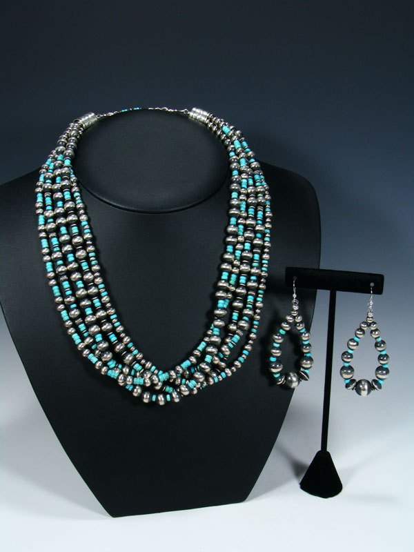 Native American Sterling Silver and Turquoise Five Strand Bead Necklace Set