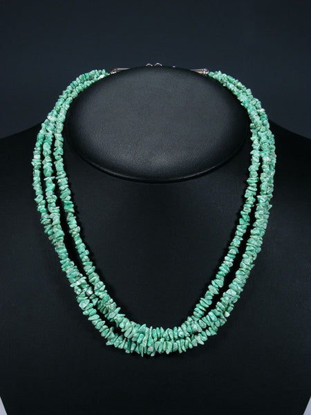 Native American Jewelry Three Strand White Water Turquoise Necklace