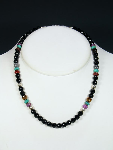 "Black Onyx 20"" Single Strand Choker Necklace"