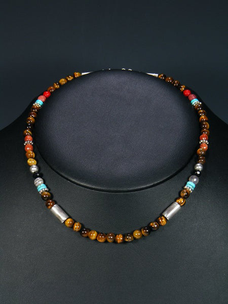 "16"" Tiger Eye Single Strand Necklace"