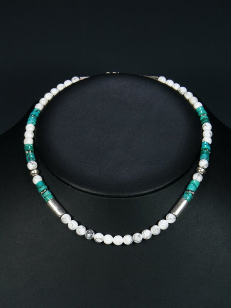 "16"" White Marble and Turquoise Single Strand Necklace"